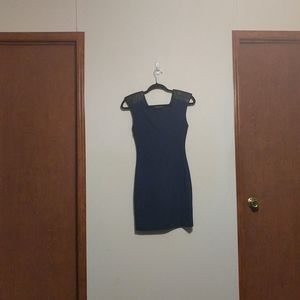 Guess Quilted Shoulder Bodycon Navy Black Dress XS